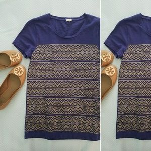 J.CREW deep purple zig zag mini sequin tee